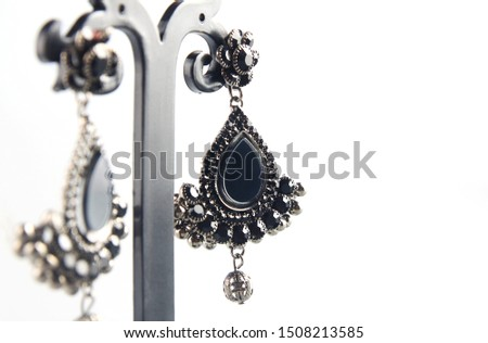 Pair of black metal earring with gem stones and beads #1508213585