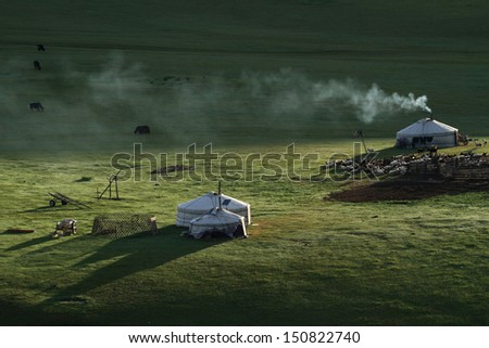 Smoke from the Yurts in the morning light #150822740