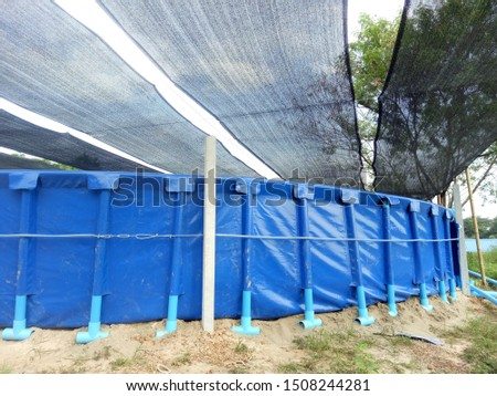 PE plastic pool for shrimp farm with pipe base and shade net roof.  #1508244281