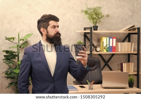 Business lunch. Businessman in formal outfit at lunch. Confident man use laptop. Boss workplace. Coffee break, lunch. Bearded man in business office. Time for lunch. inspired with cup of fresh coffee. #1508305292