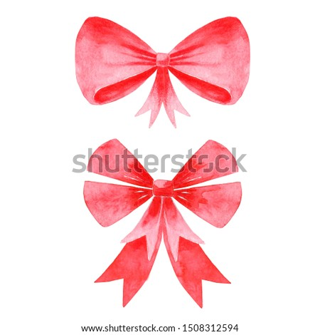 Hand painted watercolor red bows for christmas decoration. Elements for logo, icon, label, packaging design. Ribbon knot tied with two loops. Symbol of holiday gift.