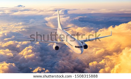 airplane in the sky, 3d rendering Royalty-Free Stock Photo #1508315888