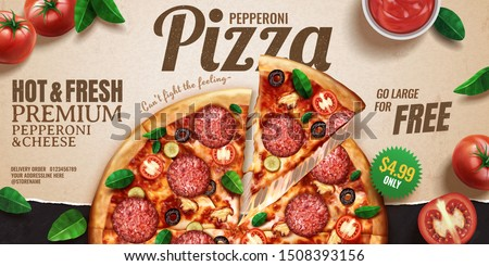 Pepperoni pizza banner ads on kraft paper background with tomatoes and basil leaves, 3d illustration top view perspective #1508393156