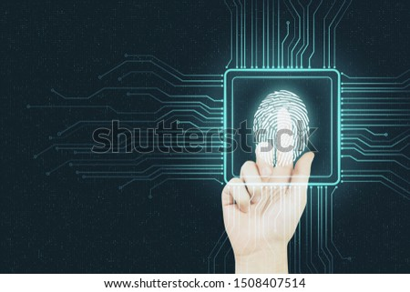 Digital security concept with human finger pushing digital fingerprint in microchip at abstract background. #1508407514