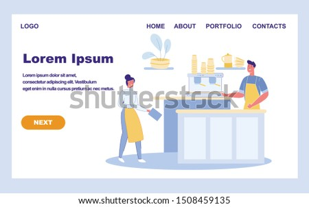 Сoffee Shop with Cafe Staff - Barista and Waitress Hospitably await Guests. Restaurant Interior With Bar Counter and Employee People Cartoon Characters. Trendy Flat Vector Illustration. #1508459135