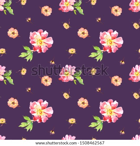 Wedding bridal romanric rustic warm seamless pattern. Hand drawing watercolor pink and purple and orange flowers ornament #1508462567