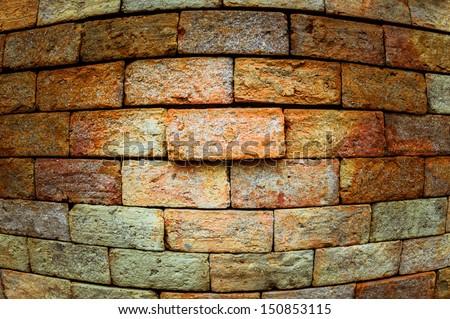 Grunge background of brick wall texture.Fisheye lens view. #150853115