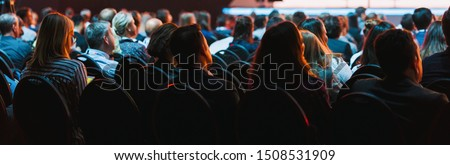 Banner of conference hall or seminar room with attendee background Royalty-Free Stock Photo #1508531909