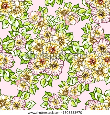 Abstract elegance seamless pattern with floral background #1508533970