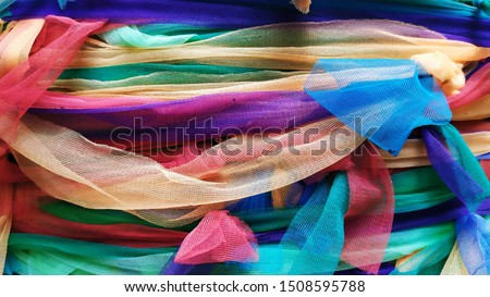 Colored fabric to tie the tree, Colors fabric tie for thai believe it shows respect and worship #1508595788
