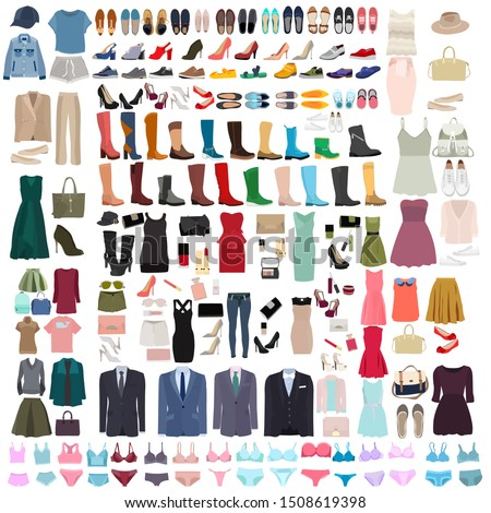vector, isolated, set of clothes, shoes and linen #1508619398