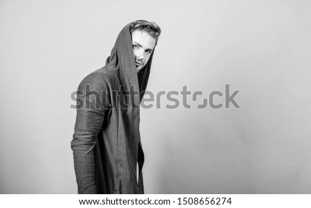 Brute masculinity extremely commanding looking conventionally handsome. Unconventional but masculine look. Masculinity concept. Masculinity and confidence. Man well groomed handsome hooded clothes. #1508656274