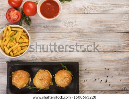 Top view fast food tasty snacks on a table #1508663228