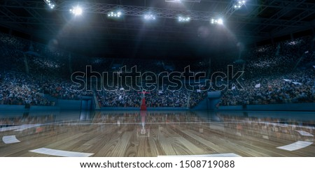 Professional basketball arena with basketball hoop in 3D. #1508719088