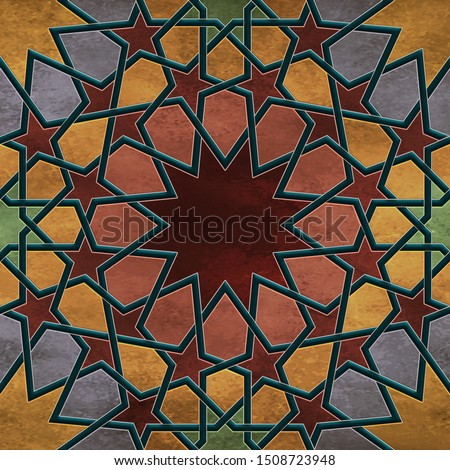 Seamless Arabesque pattern tiles in 300 dpi resolution, Islamic art for multiple purposes