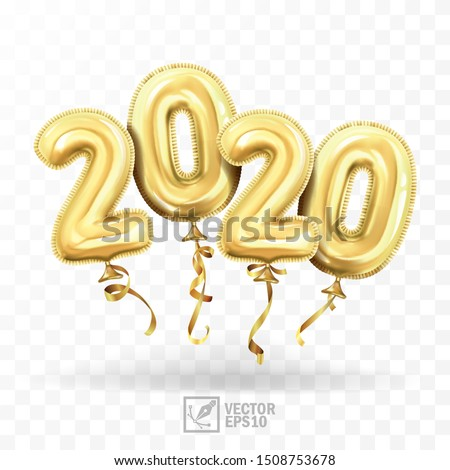 3d realistic isolated vector with gold gel balls as numbers two thousand and twenty, 2020, New Year's balloons to decorate your design, Christmas, New Year, advertising