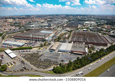 Aerial view of automobile industry and car yards in the city of São Bernardo do Campo, in Brazil #1508809016