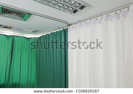Curtain​s​ in​ the​ waiting​ room​ at​ the​ hospital.