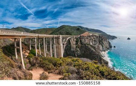 Bixby Bridge on Pacific Coast Highway, California Royalty-Free Stock Photo #150885158