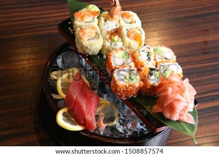 Mix Sushi on wood table  #1508857574