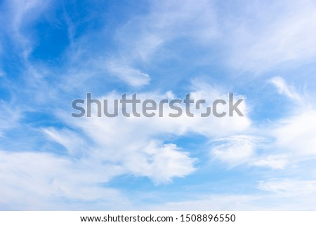 Blue sky with close up white fluffy tiny clouds background and pattern #1508896550