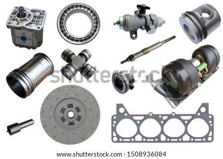 Auto spare parts car on the white background. Set with many isolated items for shop or aftermarket #1508936084