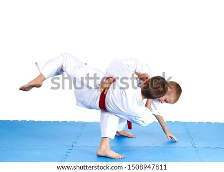 Sportsmens are training judo throws #1508947811