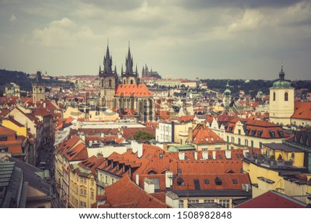 Architecture and landmark skyline of Prague in Czech Republic. #1508982848
