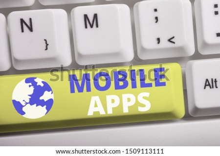 Word writing text Mobile Apps. Business concept for small programs are made to work on phones like app store or app store White pc keyboard with empty note paper above white background key copy space. #1509113111