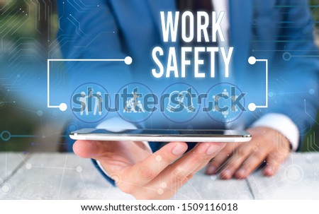 Word writing text Work Safety. Business concept for Policies and control in place according to government standard Male human wear formal work suit presenting presentation using smart device. #1509116018