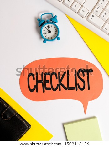 Word writing text Checklist. Business concept for List down of the detailed activity as guide of doing something Flat lay with copy space on bubble paper clock and paper clips. #1509116156