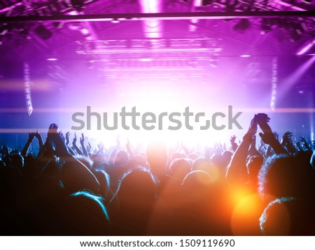 Back row concert show with people clapping the live stage #1509119690