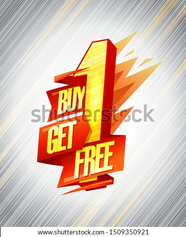 Buy one get one free sale banner design concept with origami ribbon