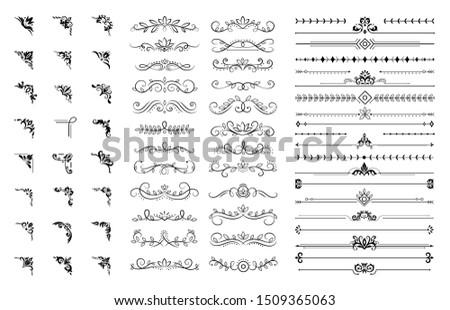 Decorative corners and dividers. Ornamental curls border, royal ornaments and vintage filigree ornament corner. Wedding motifs corners, royal floral borders.  illustration isolated symbols set #1509365063