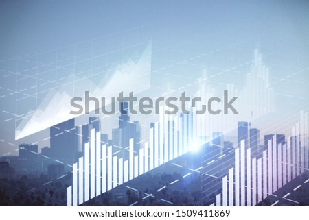 Forex chart on cityscape with skyscrapers wallpaper double exposure. Financial research concept. #1509411869