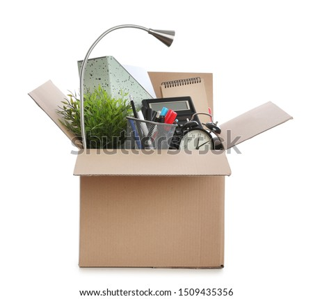 Cardboard box full of office stuff on white background #1509435356