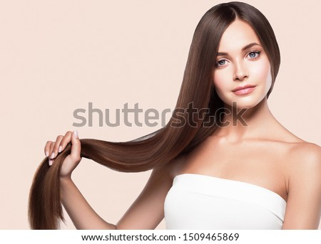 Beautiful hair woman long smooth hairstyle beauty concept Royalty-Free Stock Photo #1509465869