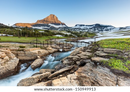 Beautiful nature at Logan Pass, Glacier National Park, MT in Summer Royalty-Free Stock Photo #150949913