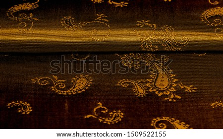 Texture background pattern Yellow mustard brown chiffon fabric with paisley print High quality pure silk chiffon fabric bright beautiful color combinations This fabric is suitable for design wallpaper #1509522155