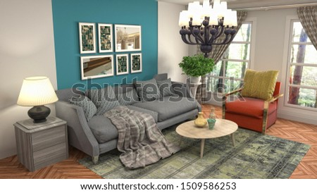 Interior of the living room. 3D illustration. #1509586253