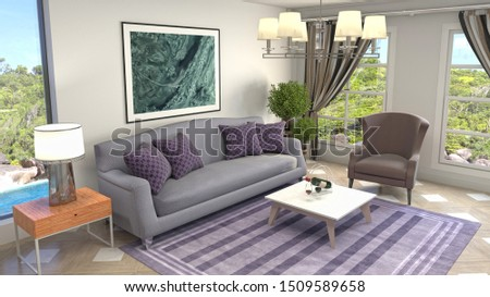 Interior of the living room. 3D illustration. #1509589658
