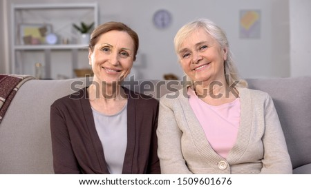 Happy mature women smiling on camera, social security, safe pension happiness #1509601676