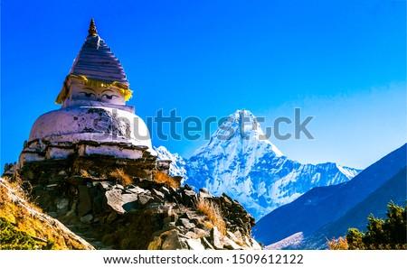 Ama Dablam mountain temple in Nepal. Ama Dablam landscape. Ama Dablam Nepal mountains. Ama Dablam peak #1509612122