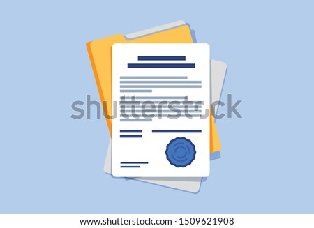 Signed contract or document. Document, folder with stamp and text silhouettes. Contract conditions, research or approval validation document. Contract papers, Document. Folder with papers #1509621908