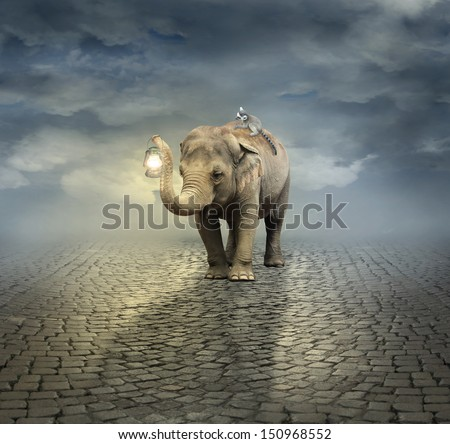 Surreal artistic illustration with an elephant carrying a lemur on its back and a lantern with its trunk