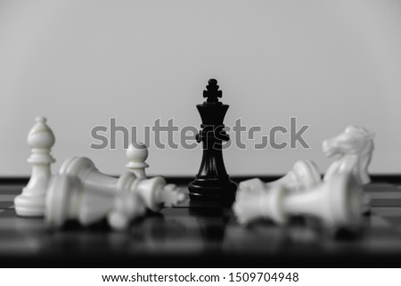 Chess King stand as last winner, victory over the enemies. The winner in business competition. Competitiveness and strategy. #1509704948
