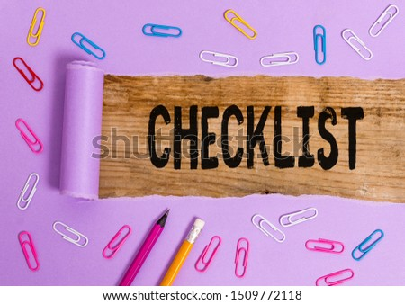 Writing note showing Checklist. Business photo showcasing List down of the detailed activity as guide of doing something. #1509772118