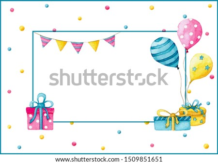 Mock up of a bright greeting card or celebration invitation decorated with balloons, flags and gift boxes on a white background with confetti
