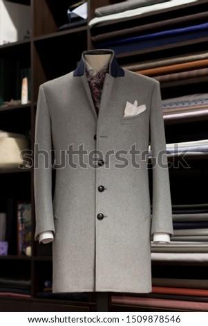 Elegance bespoke winter-coat on a mannequin. Men's Clothing. #1509878546