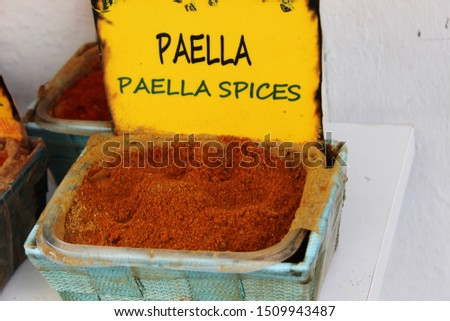 Spice to make paella, typical Spanish dish #1509943487